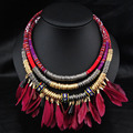 collier ethnique bohemian necklace 2016 vintage boho collares leather cord indian ethnic jewelry big chunky feather necklace