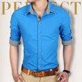 2016 Brand New Fashion Spring Men Shirts 4 Colors Cotton Turn-Down Collar Slim Fit Shirts Free Shipping & Wholesales