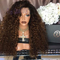 Afro kinky curly Synthetic Lace Front Wig Black/Brown two tone synthetic lace front wig ombre brown kinky curl lace front wigs