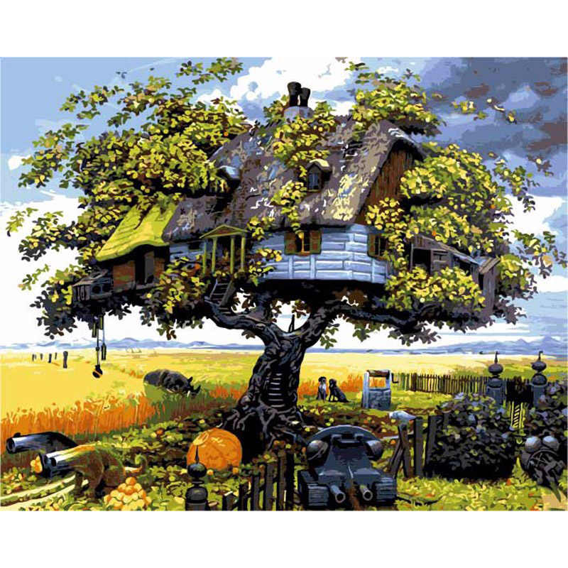 Magic Tree House Landscape DIY Digital Painting By Numbers Modern Wall Art Canvas Painting Christmas Gift Home Decor 40x50cm