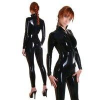 Латекс женский Облегающий комбинезон передняя молния резиновые Боди настроить большие размеры