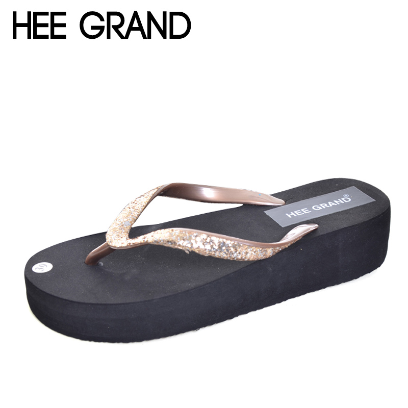 HEE GRAND Glitter Flip Flops Platform Slides Gold Silver Casual Shoes Woman Summer Bling Creepers Slip On Flats XWT634 phyanic gold silver wedges sandals 2017 new platform casual shoes woman summer buckle creepers bling flats shoes phy4040