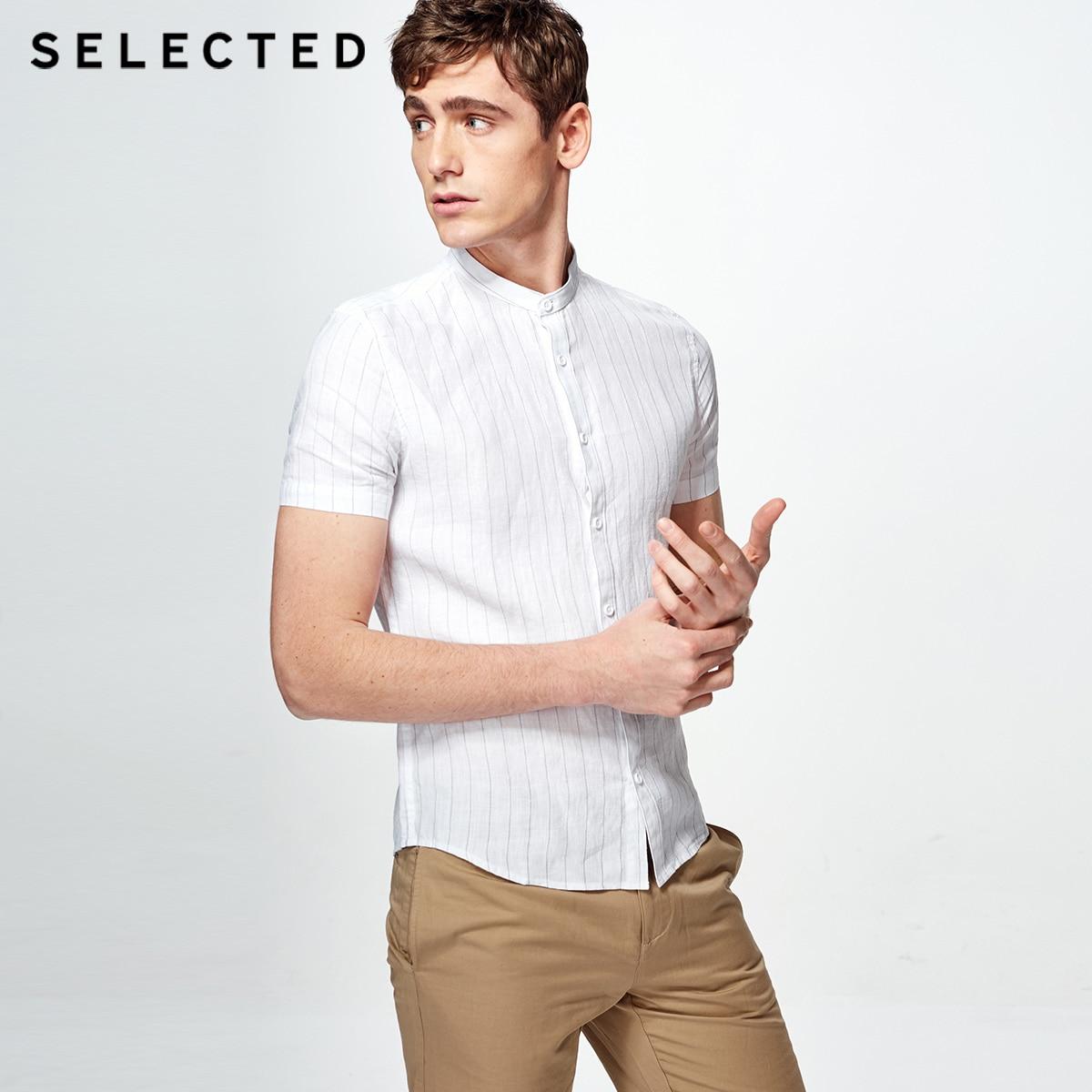 選択ストライプスタンド襟スリムビジネスレジャー半袖シャツ s  418204506  グループ上の メンズ服 からの カジュアル シャツ の中 1