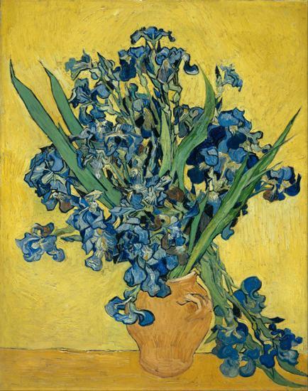 Free Shipping Impression Van Gogh Vase Of Iris Flower Canvas