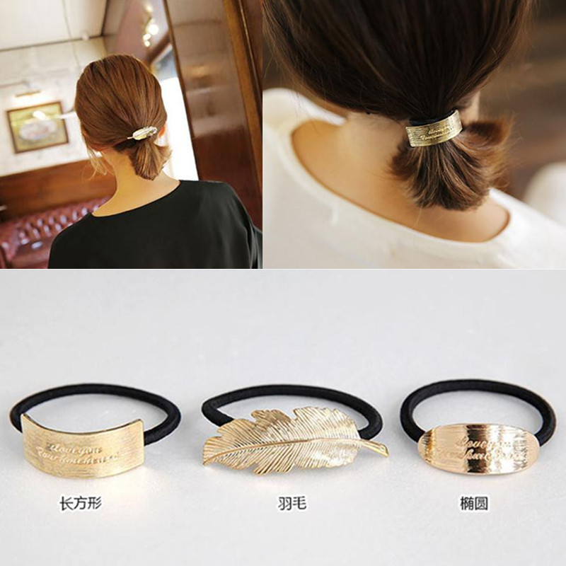 Hair Rope Gold Feather Elastic Hair Bands Rubber Ponytail For Women Girl Headwear Hair Accessories Scrunchy t83