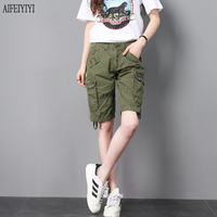 2019 Summer Army Green Jeans Knee Length Multi Pocket Denim Military Short Jeans Cargo Pants Men/Womens Trousers Pantalon Femmes