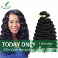 Brazilian Deep Wave 4 Bundles 7A Brazilian Deep Curly Virgin Hair Brazilian Hair Weave Bundles Soft Curly Weave Human Hair