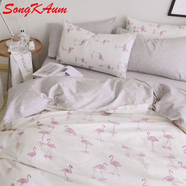 Songkaum 100 Baumwolle Europa Flamingo Bettwäsche Sets Schlafsaal