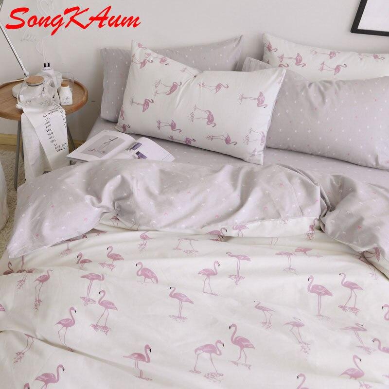 SongKAum 100% Cotton Europe Flamingo Bedding Sets