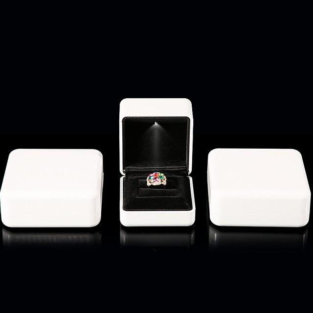 Online Shop White Rubber Painint LED Jewelry Box Ring Box Bracelet