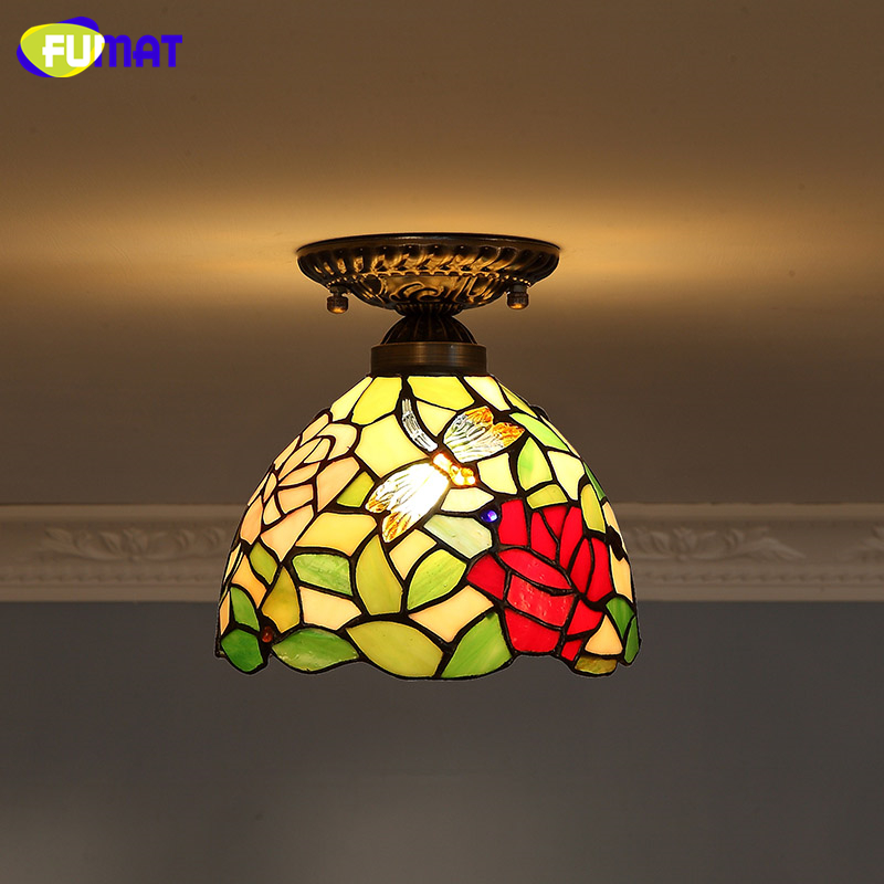 FUMAT Stained Glass Ceiling Lamps For Living Room Front porch Aisle Baroque Art Lights Home Deco LED Glass Art Ceiling Lights