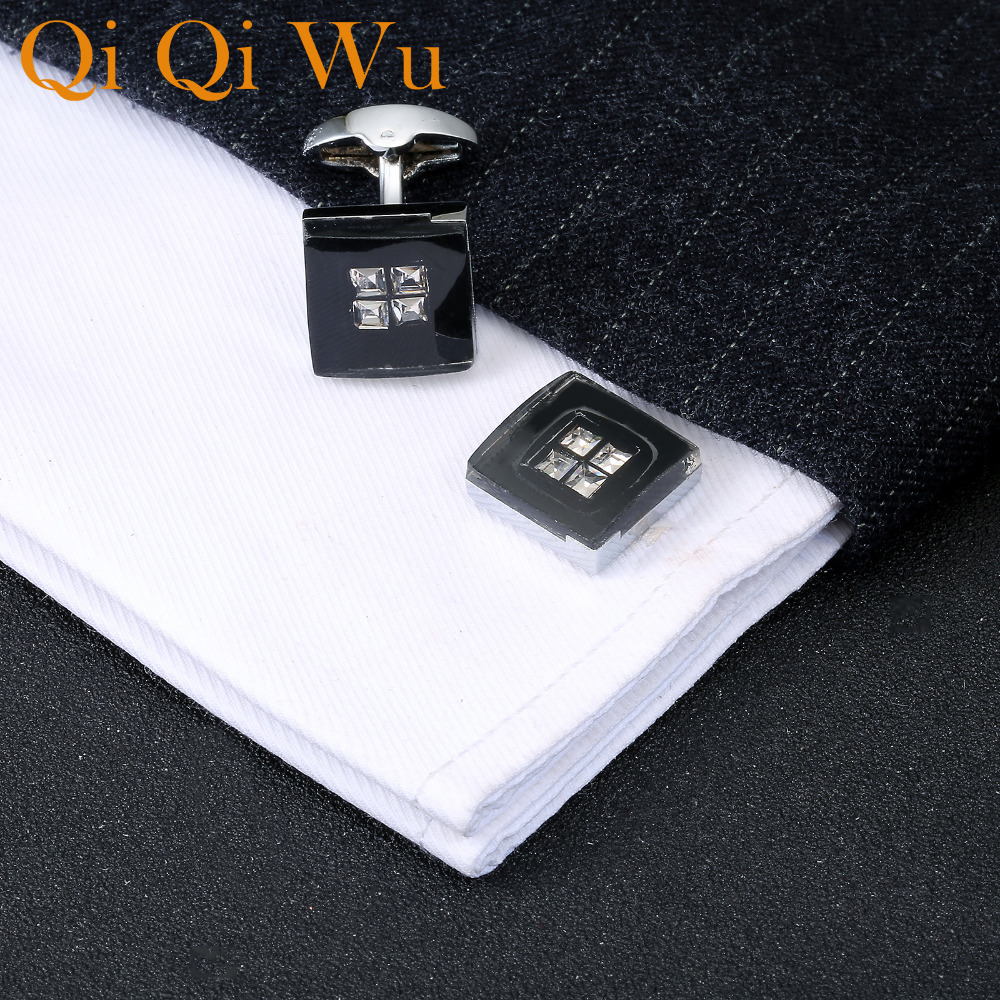QiQiWu Black Acrylic Square Cufflinks for mens Wedding Mens Rhinestone Shirt Cuff Buttons Gifts for Men Silver Plated Cuff links in Tie Clips Cufflinks from Jewelry Accessories
