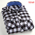 2016 Sale Vetement Homme Camisas Hot Autumn Thin Long-sleeve Shirt Slim Male Fashion Plaid Flannel Casual Trend Mens S-4xl Size