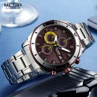 MEGIR Men's Formal Dress Quartz Watches Stainless Steel Strap Chronograph Wristwatch for Man Blue Dial Luminous Hands 2075G 10