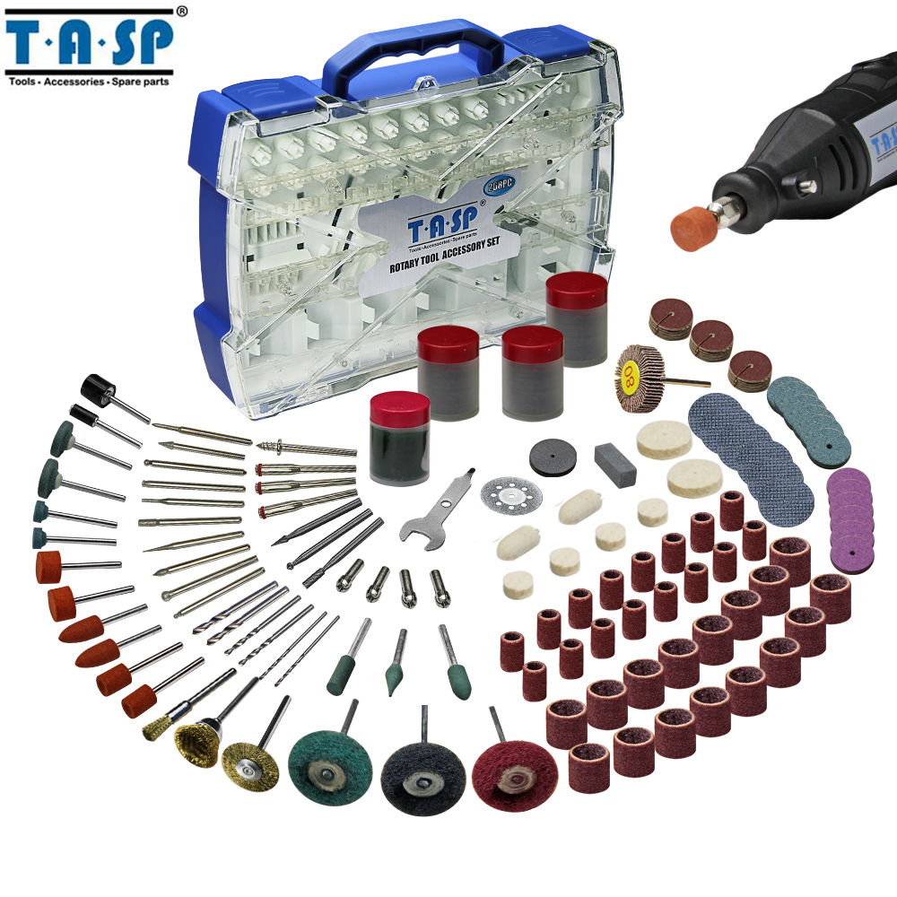 TASP 268pcs Electric Mini Drill Bit Accessories Set Abrasive Tools Compatible with Dremel Rotary Tool for Grinding Polishing