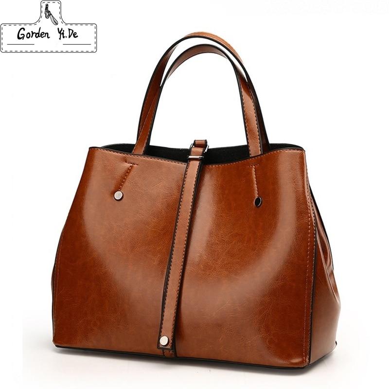 Luxury Ladies Boston Bag 2018 Famous Brands Women Genuine Leather Bags High Quality Designer Vintage Messenger Bag Handbags