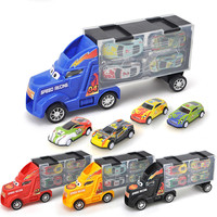 27cm Speelgoed Auto Diecast Truck Model Car Set Children Toy Tractor Container Storage with 4pcs Pull Back Metal Cars Model Gift
