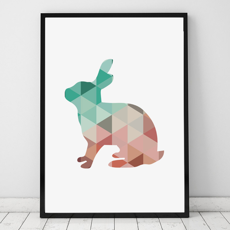 Nursery Coral Mint Geometric Rabbit bunny Canvas Print wall Poster,Woodland jungle wild animal picture,not oil painting,no frame