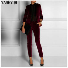 Customized velvet Wine Red lady Women Pant Suits lady Ladies Business Office Tuxedos Formal Work Wear Suits pant blazer 2 pieces(China)