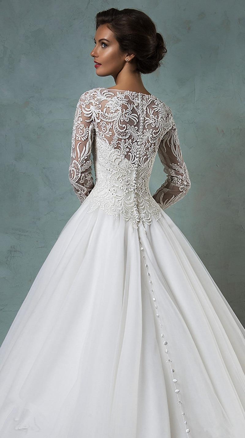 Couture robe De mariée en dentelle manches longues longueur De plancher De  haute qualité robe De Casamento pas cher blanc Tulle robes Novia 2016 de la