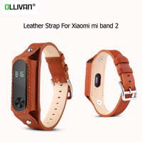 New Leather Strap For Xiaomi Mi Band 2 Straps Screwless Stainless Steel band Bracelet Replace Accessories For Xiaomi Mi Band 2