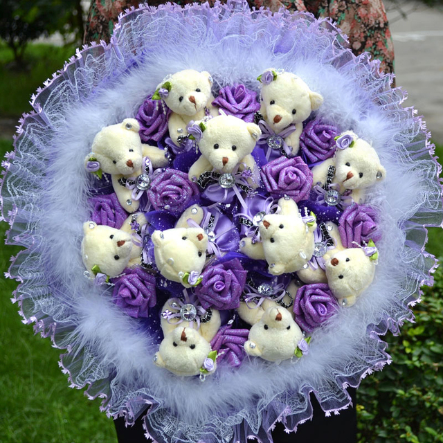 Cartoon Bouquet Bear Flowers Graduation Gift Birthday To Send His Girlfriend Baby Doll Teddy Bouquets Of Roses In Hand