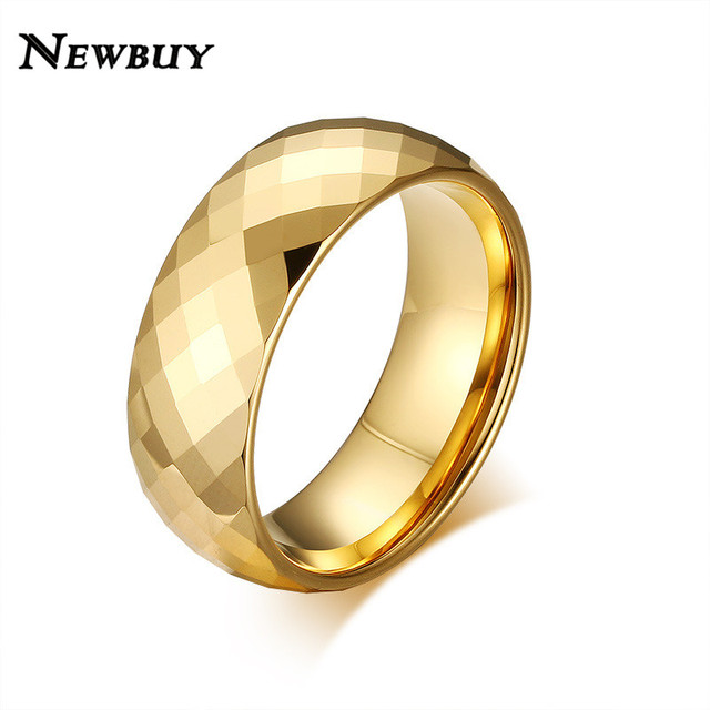 NEWBUY 2017 New High Quality Gold color Men Wedding Rings Classic