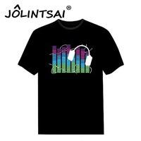 Czarny Dźwięk Aktywny Unisex O-neck T Shirt Men Light Up Flash korektor Disco Party DJ LED EL T-Shirt Z Krótkim Rękawem na Skale