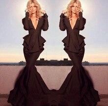 Gorgeous Mermaid Deep V Neck Long Sleeve Black Evening Dress Peplum Formal Pageant Dresses
