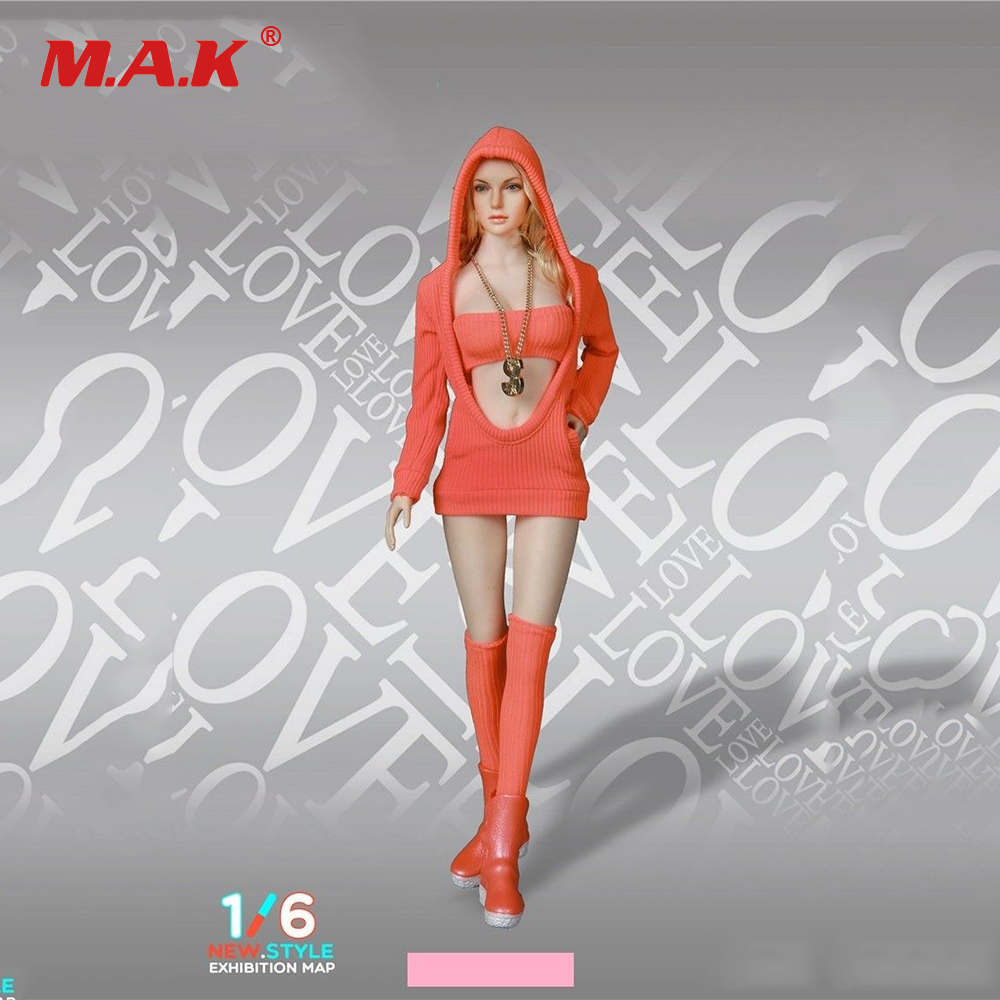 1/6 Scale Girl Clothes FG052 Sexy Female Knitted Sweater Suit Hoodie Clothes Set for 12 inches Action Figure Body image