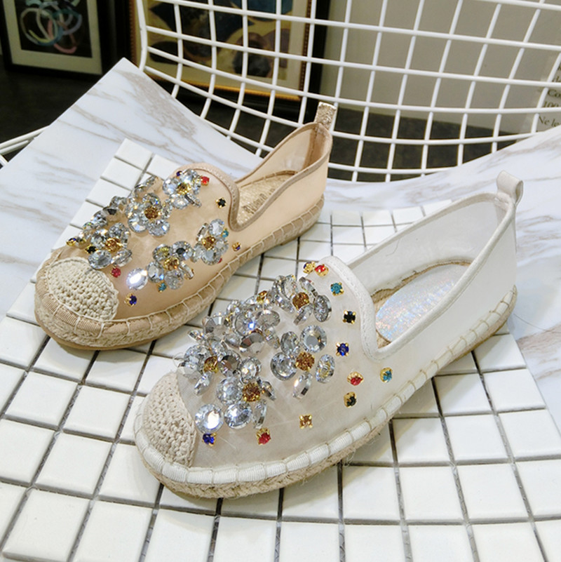 Kvinnor Casual Shoes Mode Rhinestone Women Shoes Mjuk Slip On Loafers - Damskor - Foto 3