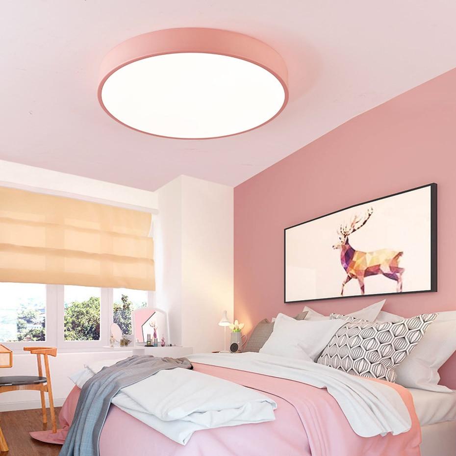 Lámpara de techo LED moderna ultra fina rosa