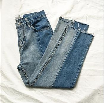 Made Korean version of the jeans men and young summer loose straight nine-cent edge pants.