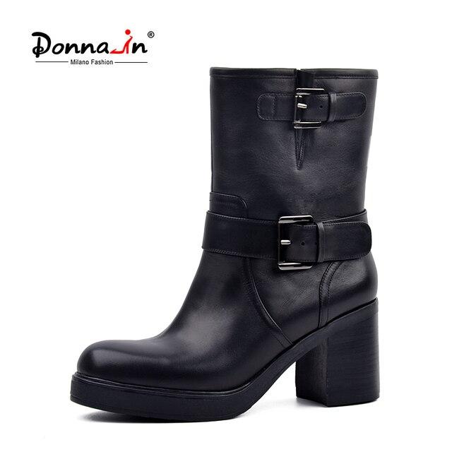 ドナのファッション金属バックル乗馬ブーツ本物のウールライニング冬の雪の靴本革プラットフォームハイヒールの女性ブーツ