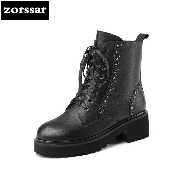 {Zorssar} Platform Heels Women Motorcycle Boots Soft Leather Thick high Heel Ankle Boots Winter Warm Fur Boots Shoes Big Size 43