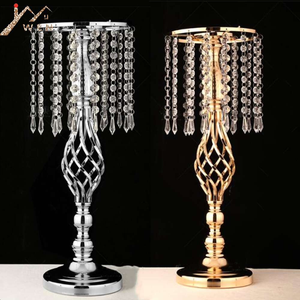 Support de forme de torsion de Vase de fleur exquis or/argent pièce maîtresse de mariage/Table 52 CM de haut décor à la maison de plomb de route