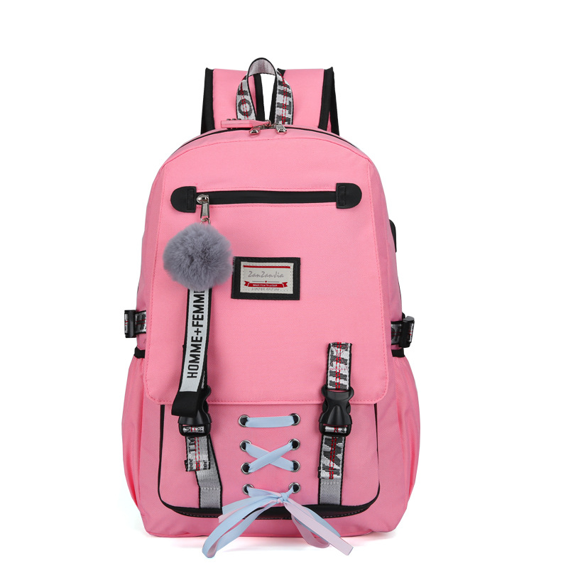 HTB13p3jNgHqK1RjSZFEq6AGMXXa2 Pink Canvas Backpack Women School Bags for Teenage Girls Preppy Style Large Capacity USB Back Pack Rucksack Youth Bagpack 2019