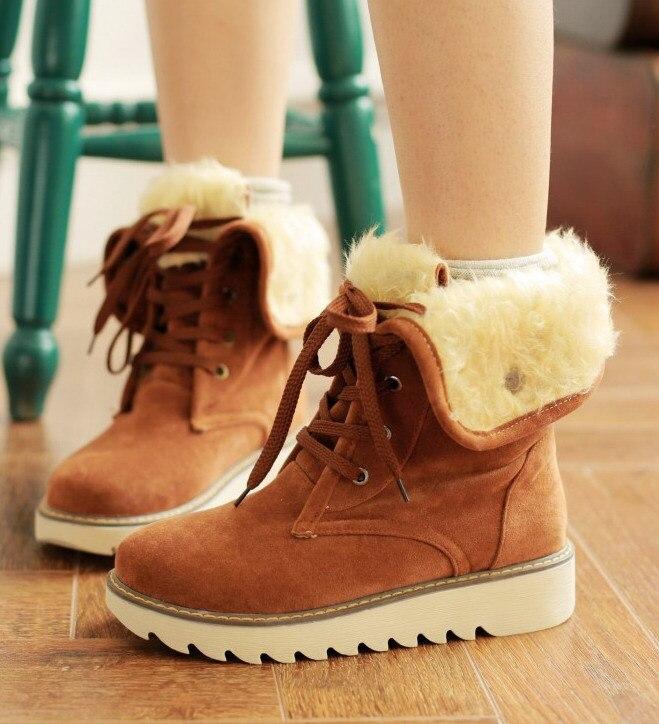 Botas de mujer de marca botas de nieve cálidas de piel botas de gamuza con cordones botines de mujer zapatos de mujer botes de invierno tallas grandes 35-43