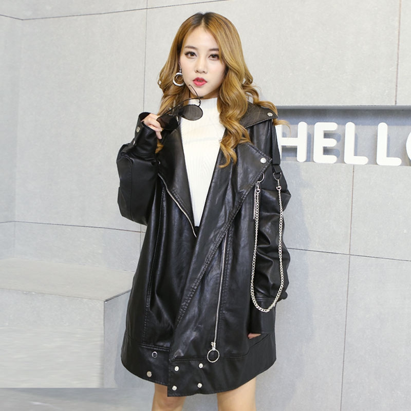 2019 Spring Korean Bf Wind Loose   Leather   Women's Casual Locomotive Long Paragraph Large Size PU   Leather   Jacket Oversize
