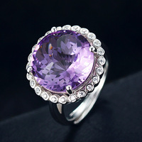 Cute round amethyst women engagement wedding rings S925 sterling silver female finger ring fine jewelry