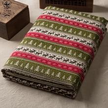 2017 New Print Deer Cotton Linen Fabric DIY Christmas Decoration For Patchwork Fabrics Tablecloth Sofa Curtain Material 50x150cm