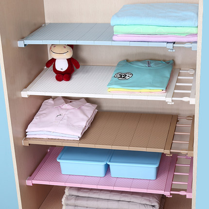 E Saving Adjule Closet Organizer Shelf Dividers Bathroom Kitchen Storage