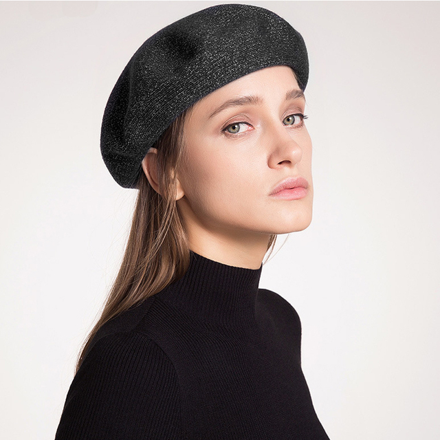 New Arrival Women Merino Wool Soft Beret Hats Lady Casual Cashmere Beret  Fashion Top Quality Beanies For Women Italian Style Hat f33b35492c6