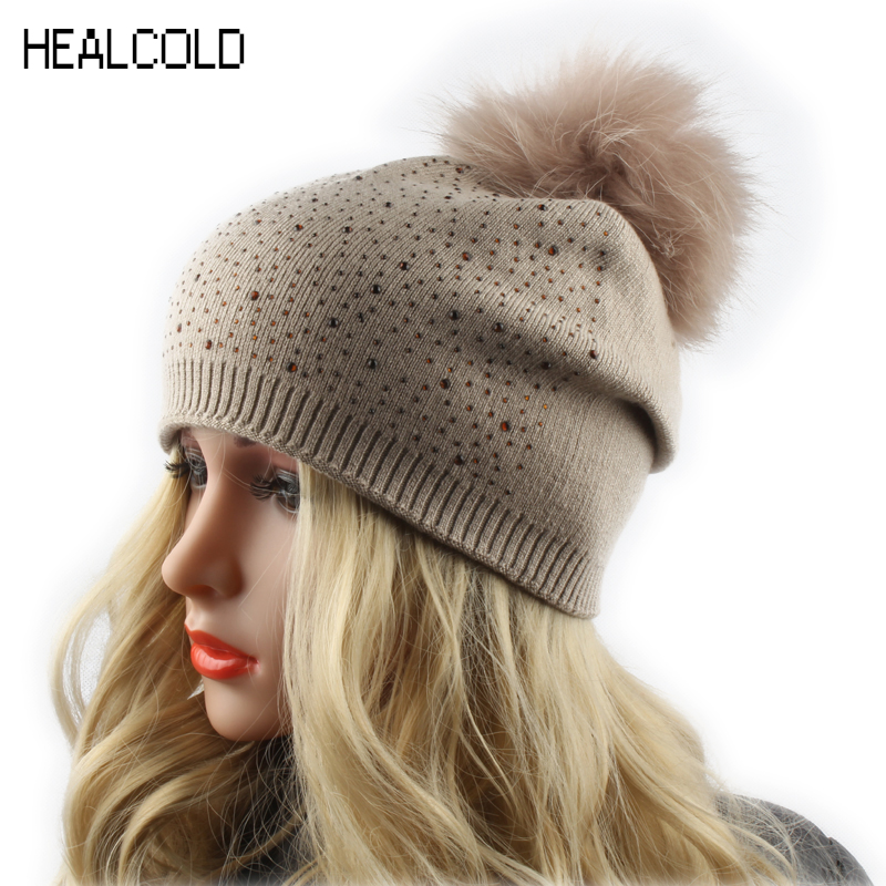 Women's Winter Beanie Hat Wool Knitted Cap Shining Rhinestone Beanie Mink Fur Pompom Hats For Women women s winter beanie hat wool knitted cap shining rhinestone beanie mink fur pompom hats for women