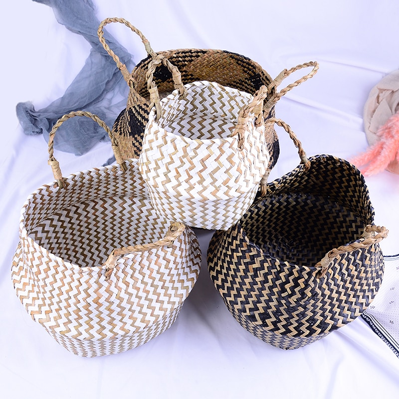 Laundry Storage Rattan Basket Straw Seagrasss Wicker Folding Flower Gardens Bag