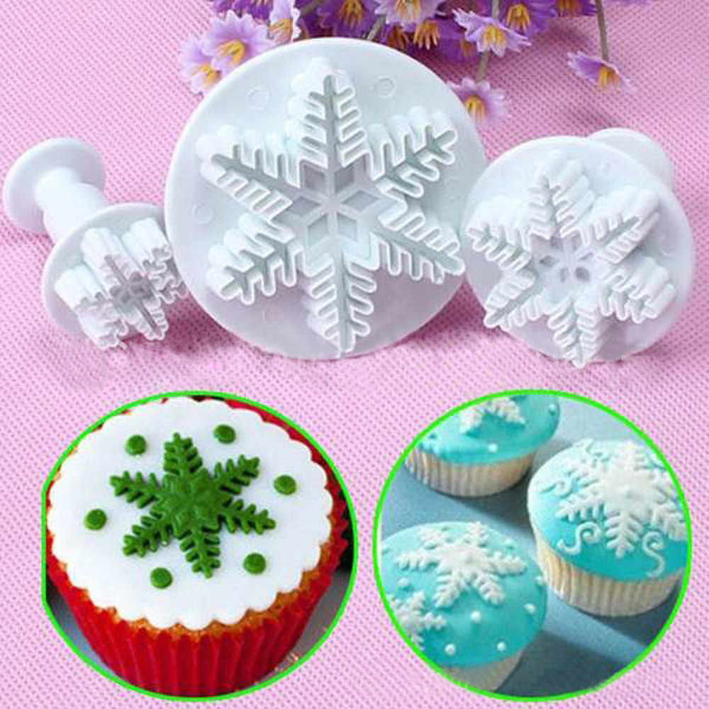 3Pcs Snowflake Cake Decorating Fondant Plunger Cutters Mold Mould Cookies Tools Cake Mold Tool Kitchen Gadget Creative Decor#EW