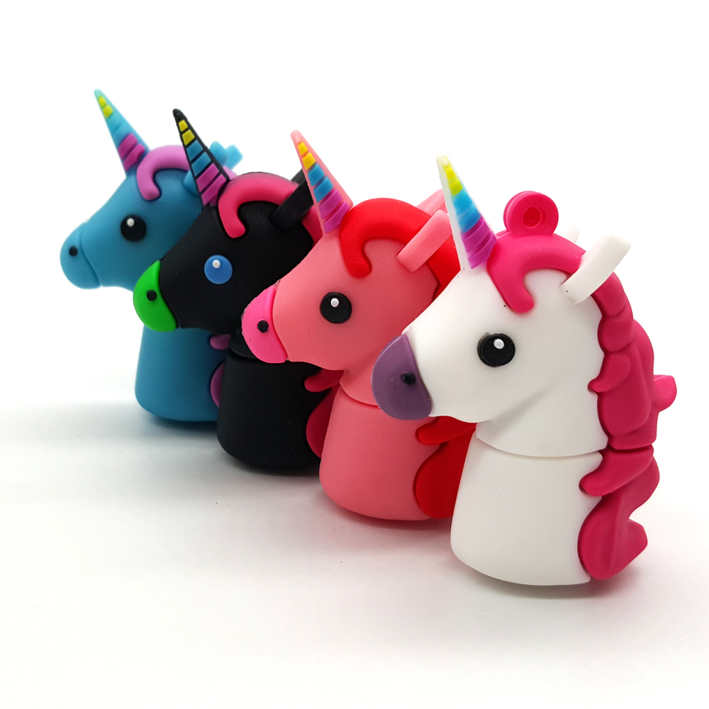 New Style Cartoon Unicorn USB Flash Drives Real Capacity Horse Pen Drive 4GB 8GB 16GB 32GB 64GB Cute Bear Memory Stick Pendrives