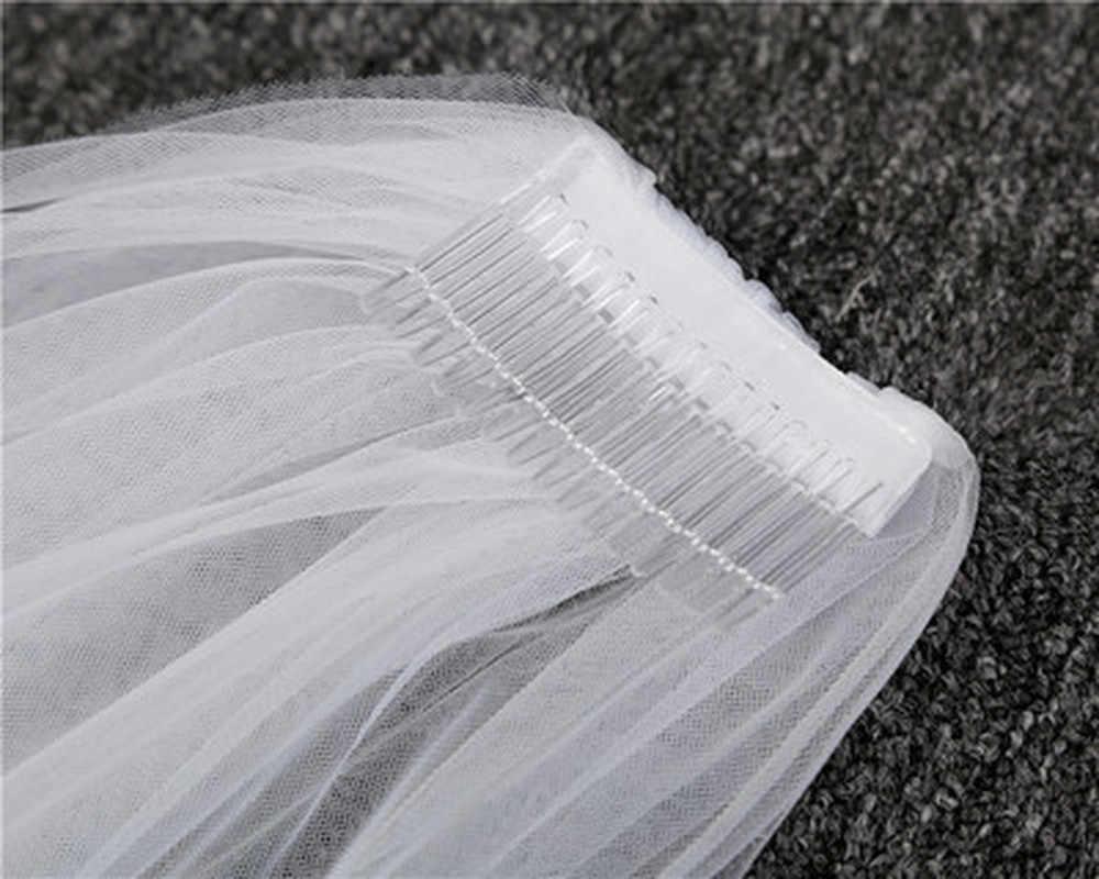 2019 günstige 2M Cut Rand Weiße Lange Braut Schleier Eine Schicht Günstige Kamm 1T Hochzeit Schleier mit Kamm