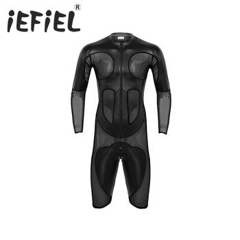 iEFiEL Mens Lingerie Sexy Male Faux Leather Mesh Splice Long Sleeve Zipper Soft Boxer Shorts Leotard Bodysuit Jumpsuit Romper