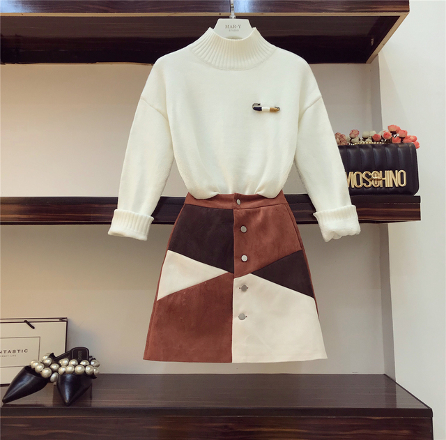 2018 Autumn Woman's Turtleneck White Pull Sweater + High Waist Color Patch Suede Skin Girls Student Two-piece Mini Skirts Set